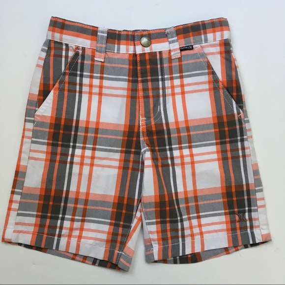 1342463b Hurley Bottoms | 4t Gray Orange Plaid Shorts | Poshmark